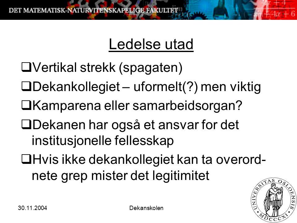 30.11.2004 Dekanskolen 20 Ledelse utad  Vertikal strekk (spagaten)  Dekankollegiet – uformelt(?) men viktig  Kamparena eller samarbeidsorgan.