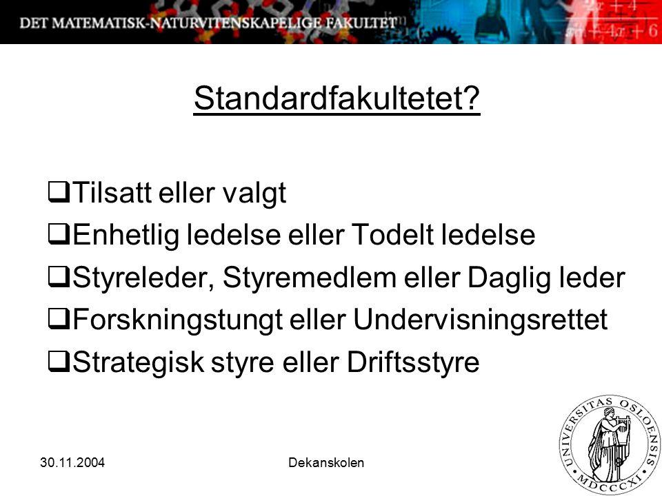 30.11.2004 Dekanskolen 9 Standardfakultetet?  Tilsatt eller valgt  Enhetlig ledelse eller Todelt ledelse  Styreleder, Styremedlem eller Daglig lede