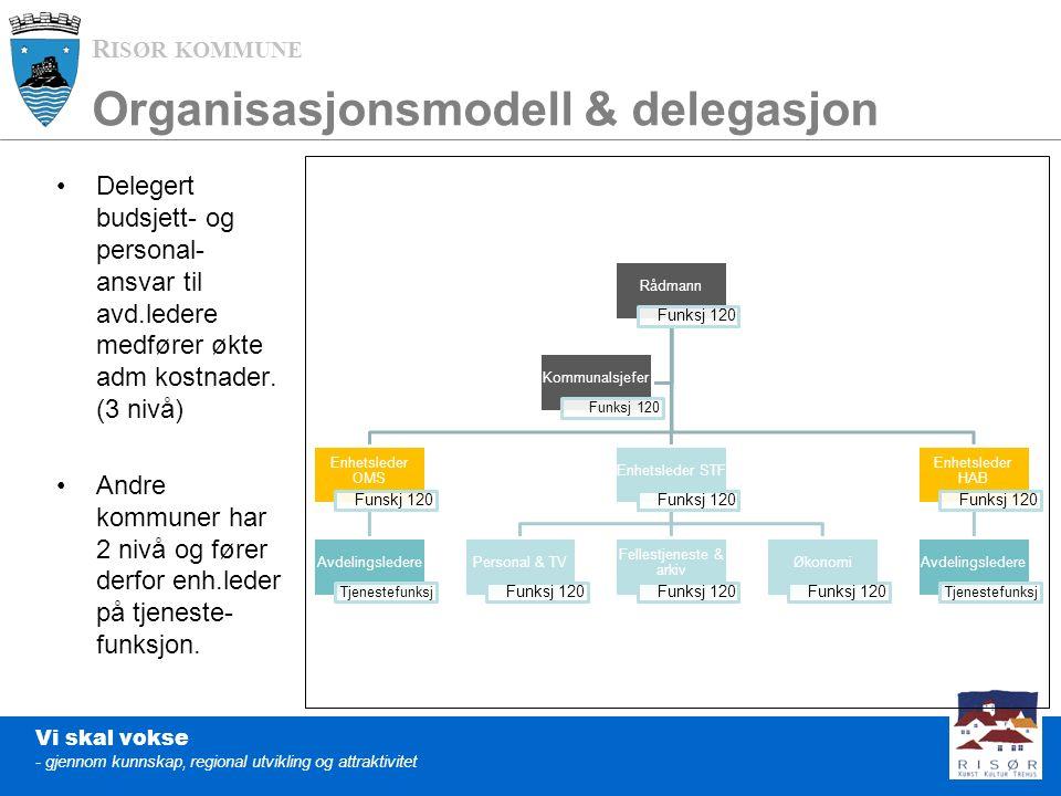 R ISØR KOMMUNE Vi skal vokse - gjennom kunnskap, regional utvikling og attraktivitet Organisasjonsmodell & delegasjon Delegert budsjett- og personal- ansvar til avd.ledere medfører økte adm kostnader.