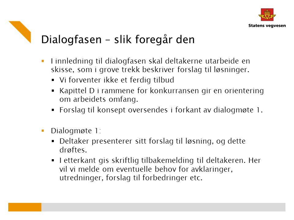 Dialogfasen – slik foregår den  I innledning til dialogfasen skal deltakerne utarbeide en skisse, som i grove trekk beskriver forslag til løsninger.