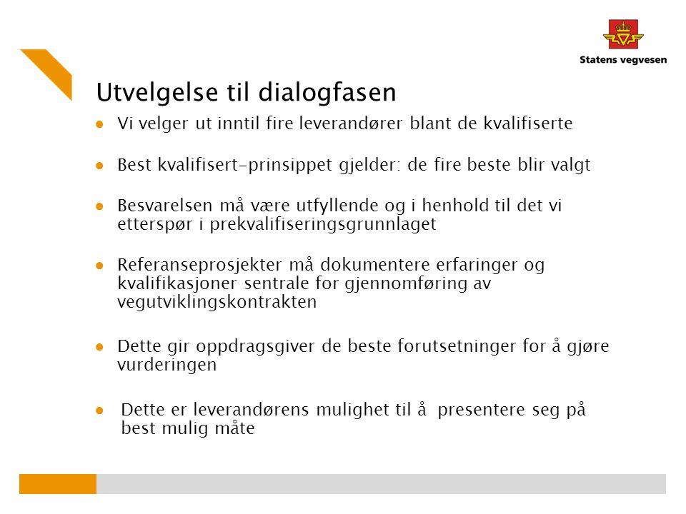 Utvelgelse til dialogfasen ● Vi velger ut inntil fire leverandører blant de kvalifiserte ● Best kvalifisert-prinsippet gjelder: de fire beste blir val