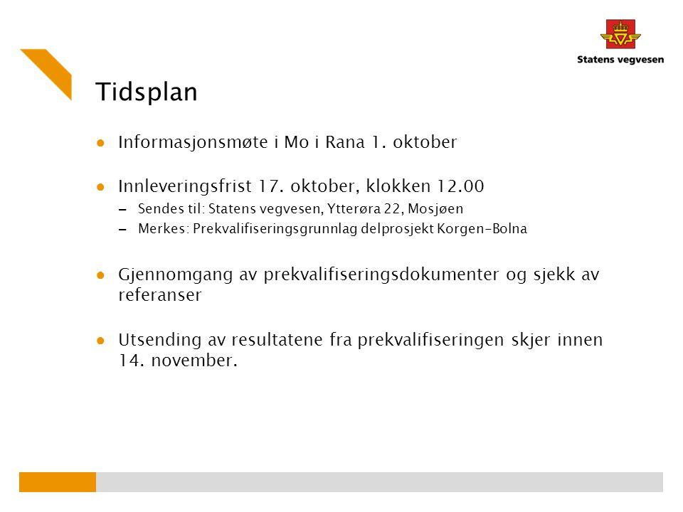 Tidsplan ● Informasjonsmøte i Mo i Rana 1. oktober ● Innleveringsfrist 17. oktober, klokken 12.00 – Sendes til: Statens vegvesen, Ytterøra 22, Mosjøen