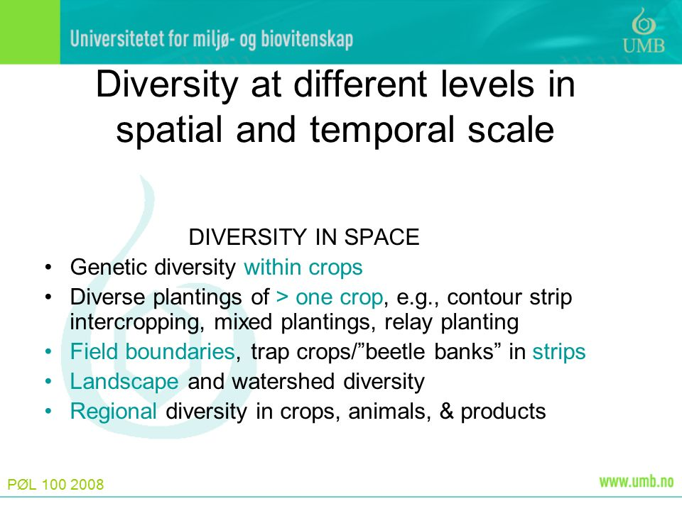 PØL 100 2008 Diversity at different levels in spatial and temporal scale DIVERSITY IN SPACE Genetic diversity within crops Diverse plantings of > one crop, e.g., contour strip intercropping, mixed plantings, relay planting Field boundaries, trap crops/ beetle banks in strips Landscape and watershed diversity Regional diversity in crops, animals, & products
