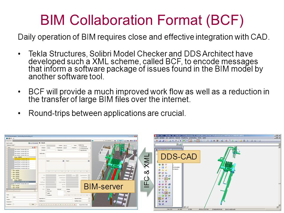 BIM Collaboration Format (BCF) Daily operation of BIM requires close and effective integration with CAD.