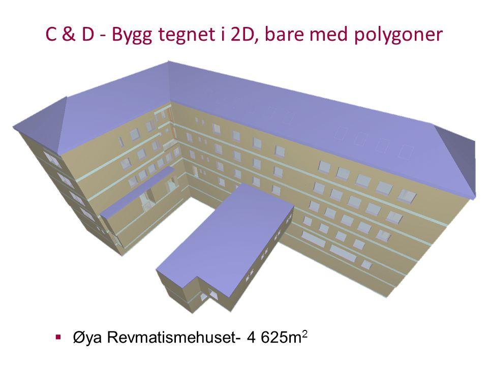 C & D - Bygg tegnet i 2D, bare med polygoner  Øya Revmatismehuset- 4 625m 2