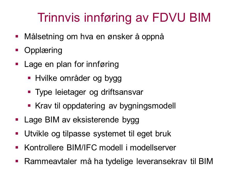 Trinnvis innføring av FDVU BIM  Målsetning om hva en ønsker å oppnå  Opplæring  Lage en plan for innføring  Hvilke områder og bygg  Type leietager og driftsansvar  Krav til oppdatering av bygningsmodell  Lage BIM av eksisterende bygg  Utvikle og tilpasse systemet til eget bruk  Kontrollere BIM/IFC modell i modellserver  Rammeavtaler må ha tydelige leveransekrav til BIM