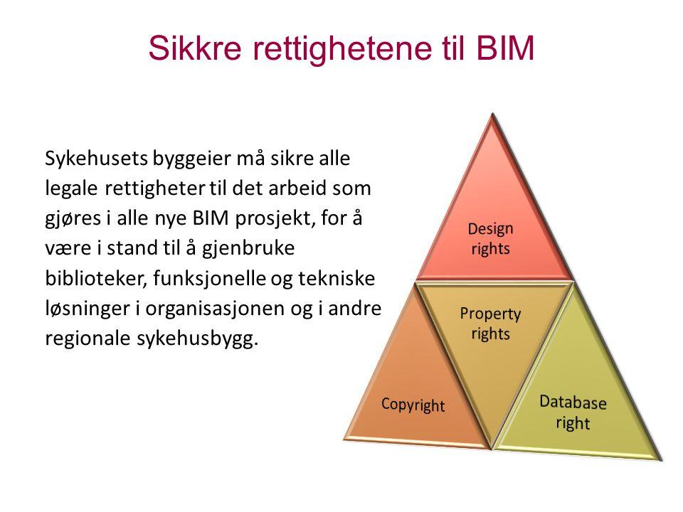 Sikkre rettighetene til BIM Sykehusets byggeier må sikre alle legale rettigheter til det arbeid som gjøres i alle nye BIM prosjekt, for å være i stand til å gjenbruke biblioteker, funksjonelle og tekniske løsninger i organisasjonen og i andre regionale sykehusbygg.