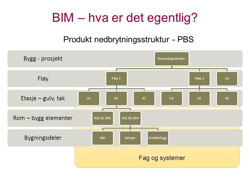 BIM – hva er det egentlig? Bygningsdeler Rom – bygg elementer Etasje – gulv, tak Fløy Bygg - prosjekt KunnskapssenterFløy 1U101421.01.K05421.01.014Dør