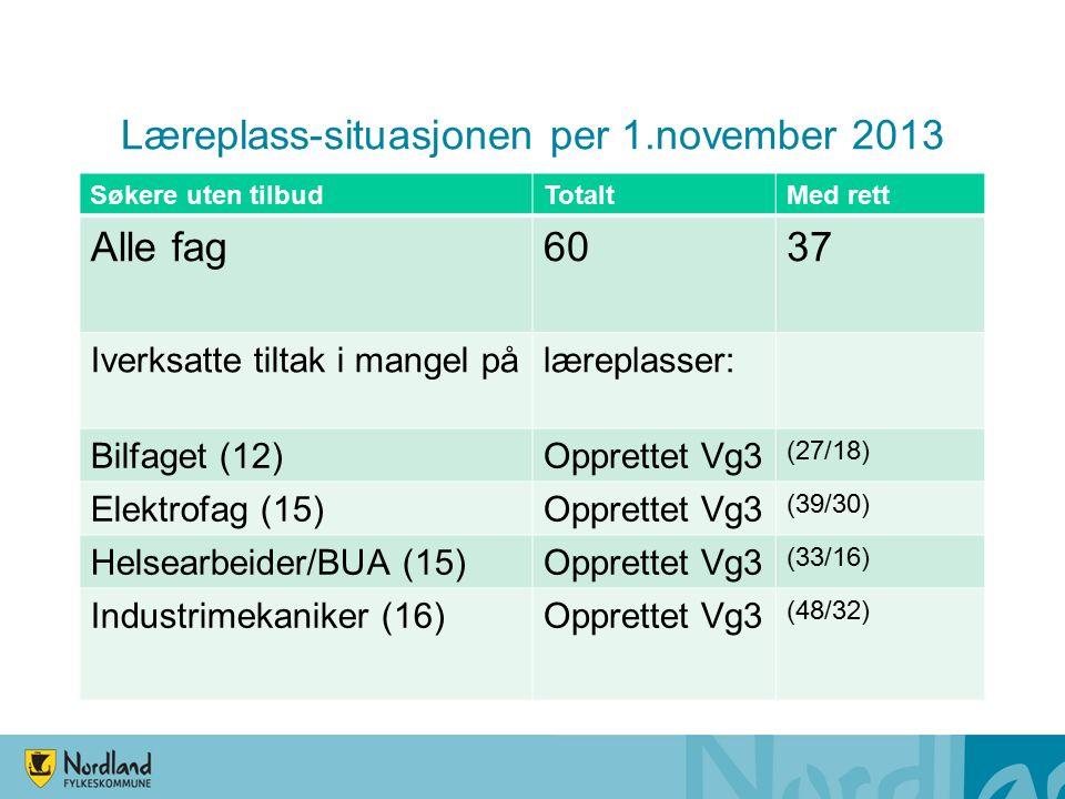 Læreplass-situasjonen per 1.november 2013 Søkere uten tilbudTotaltMed rett Alle fag6037 Iverksatte tiltak i mangel pålæreplasser: Bilfaget (12)Opprettet Vg3 (27/18) Elektrofag (15)Opprettet Vg3 (39/30) Helsearbeider/BUA (15)Opprettet Vg3 (33/16) Industrimekaniker (16)Opprettet Vg3 (48/32)