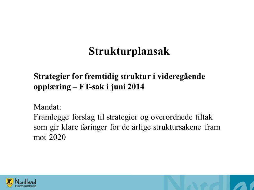 Strukturplansak Strategier for fremtidig struktur i videregående opplæring – FT-sak i juni 2014 Mandat: Framlegge forslag til strategier og overordnede tiltak som gir klare føringer for de årlige struktursakene fram mot 2020