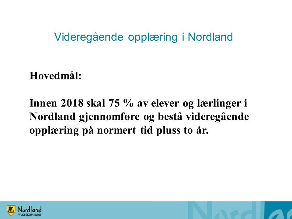 Videregående opplæring i Nordland Hovedmål: Innen 2018 skal 75 % av elever og lærlinger i Nordland gjennomføre og bestå videregående opplæring på normert tid pluss to år.