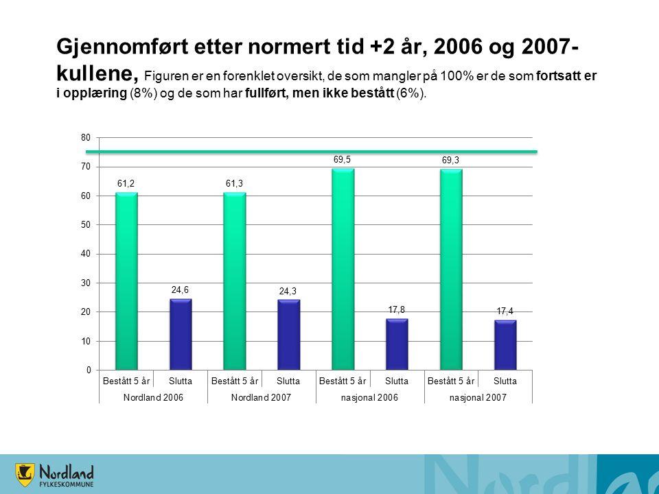 Gjennomført etter normert tid +2 år, 2006 og 2007- kullene, Figuren er en forenklet oversikt, de som mangler på 100% er de som fortsatt er i opplæring (8%) og de som har fullført, men ikke bestått (6%).