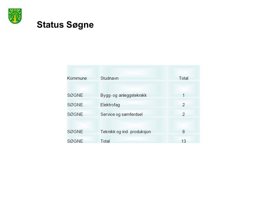 Status Søgne KommuneStudnavnTotal SØGNEBygg- og anleggsteknikk1 SØGNEElektrofag2 SØGNEService og samferdsel2 SØGNETeknikk og ind.