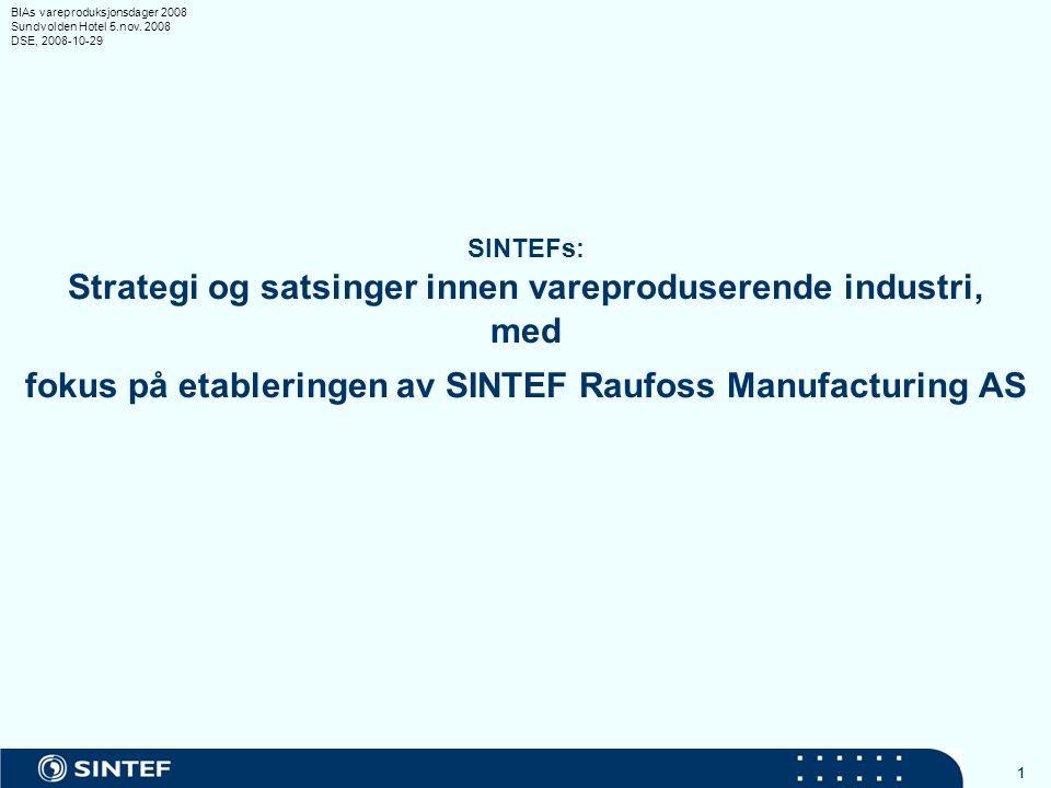 11 SINTEFs: Strategi og satsinger innen vareproduserende industri, med fokus på etableringen av SINTEF Raufoss Manufacturing AS BIAs vareproduksjonsdager 2008 Sundvolden Hotel 5.nov.