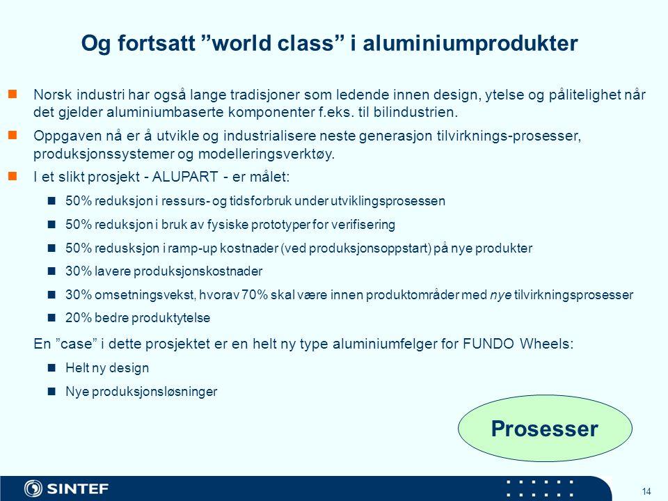 14 Norsk industri har også lange tradisjoner som ledende innen design, ytelse og pålitelighet når det gjelder aluminiumbaserte komponenter f.eks.