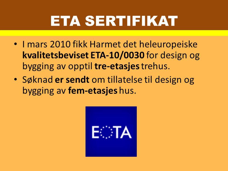 I mars 2010 fikk Harmet det heleuropeiske kvalitetsbeviset ETA-10/0030 for design og bygging av opptil tre-etasjes trehus.