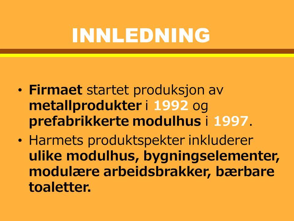 INNLEDNING Firmaet startet produksjon av metallprodukter i 1992 og prefabrikkerte modulhus i 1997.