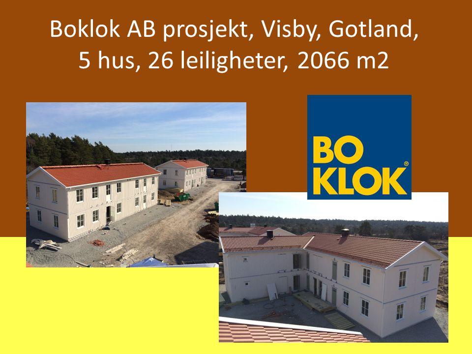 Boklok AB prosjekt, Visby, Gotland, 5 hus, 26 leiligheter, 2066 m2
