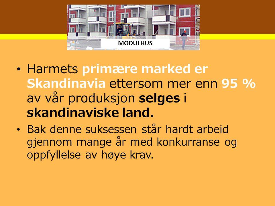 Harmets primære marked er Skandinavia ettersom mer enn 95 % av vår produksjon selges i skandinaviske land.