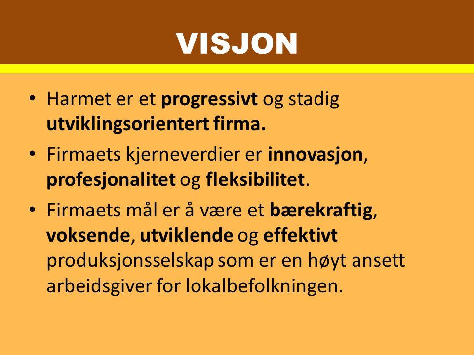 VISJON Harmet er et progressivt og stadig utviklingsorientert firma.