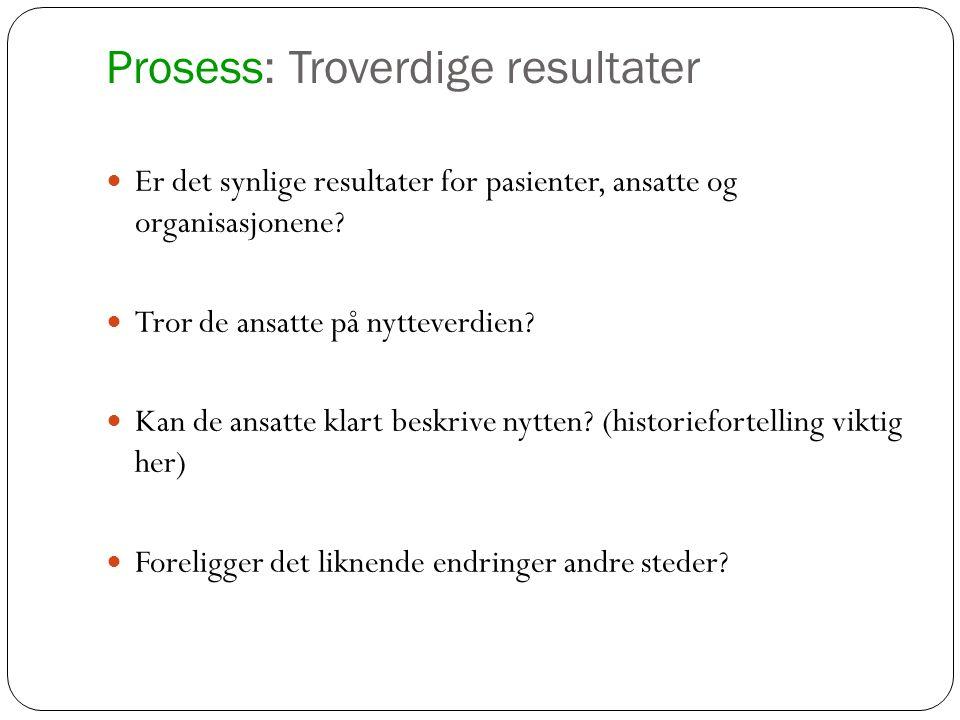Prosess: Troverdige resultater Er det synlige resultater for pasienter, ansatte og organisasjonene? Tror de ansatte på nytteverdien? Kan de ansatte kl