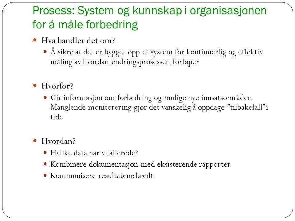 Prosess: System og kunnskap i organisasjonen for å måle forbedring Hva handler det om? Å sikre at det er bygget opp et system for kontinuerlig og effe