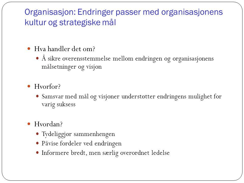 Organisasjon: Endringer passer med organisasjonens kultur og strategiske mål Hva handler det om? Å sikre overensstemmelse mellom endringen og organisa