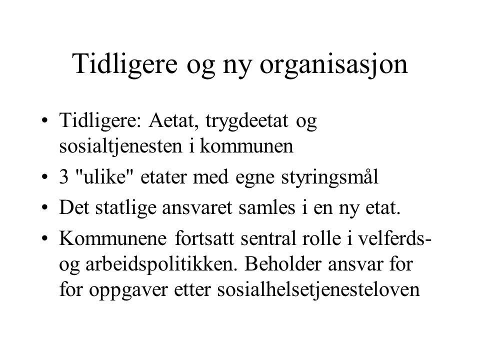 Tidligere og ny organisasjon Tidligere: Aetat, trygdeetat og sosialtjenesten i kommunen 3