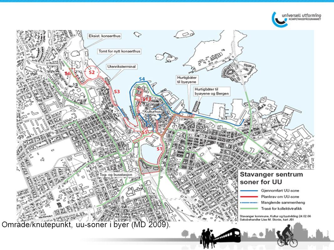 Universell utforming 2010 Område/knutepunkt, uu-soner i byer (MD 2009).