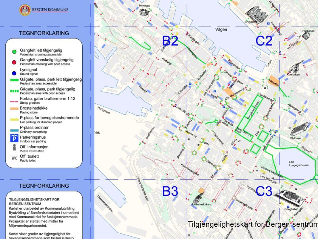 Universell utforming 2010 Tilgjengelighetskart for Bergen sentrum.