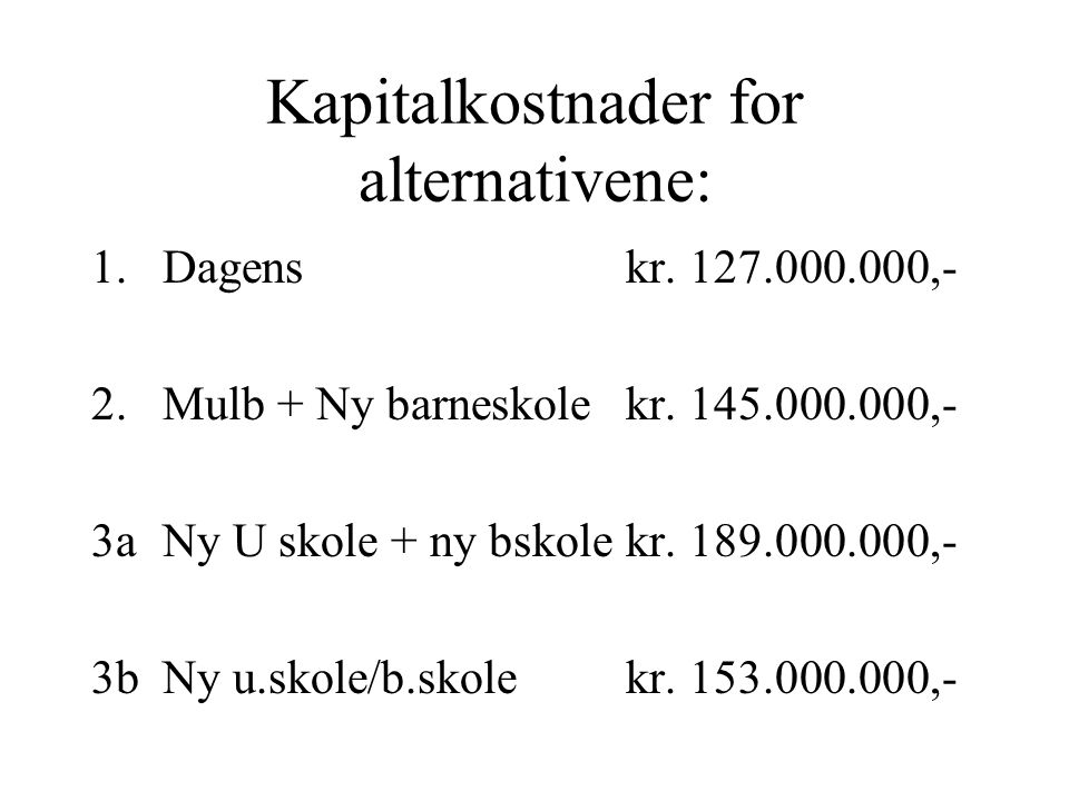 Kapitalkostnader for alternativene: 1.Dagenskr. 127.000.000,- 2.Mulb + Ny barneskolekr. 145.000.000,- 3aNy U skole + ny bskolekr. 189.000.000,- 3bNy u
