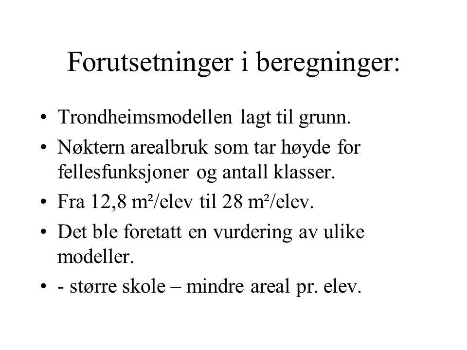 Forutsetninger i beregninger: Trondheimsmodellen lagt til grunn.