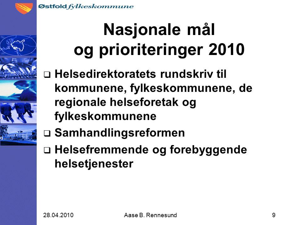 Nasjonale mål og prioriteringer 2010  Helsedirektoratets rundskriv til kommunene, fylkeskommunene, de regionale helseforetak og fylkeskommunene  Samhandlingsreformen  Helsefremmende og forebyggende helsetjenester 928.04.2010Aase B.