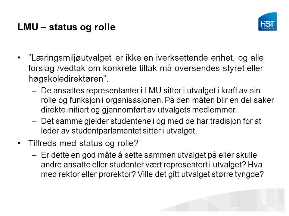 LMU – status og rolle Læringsmiljøutvalget er ikke en iverksettende enhet, og alle forslag /vedtak om konkrete tiltak må oversendes styret eller høgskoledirektøren .