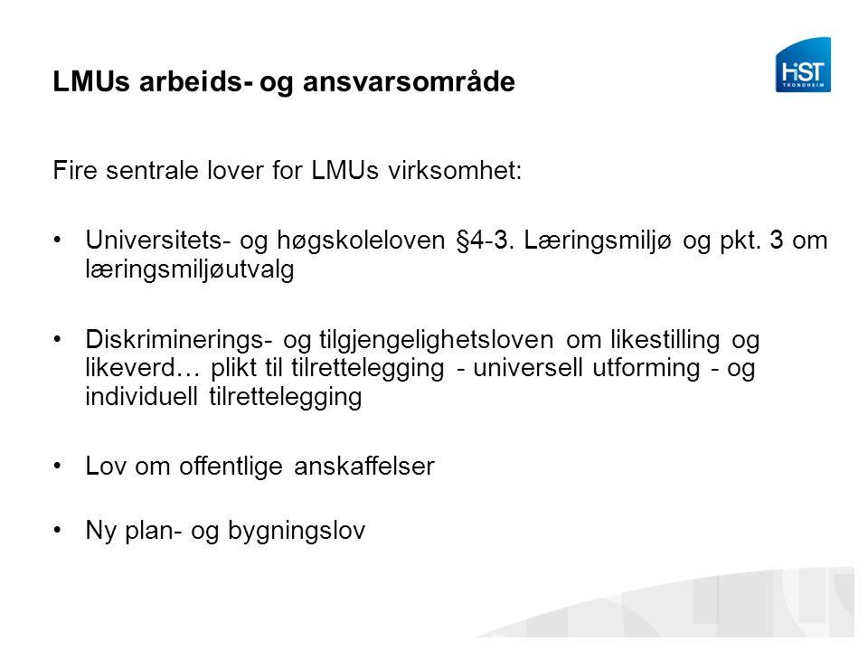 LMUs arbeids- og ansvarsområde Fire sentrale lover for LMUs virksomhet: Universitets- og høgskoleloven §4-3. Læringsmiljø og pkt. 3 om læringsmiljøutv