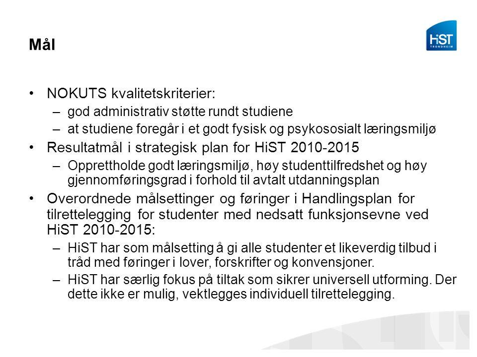 Mål NOKUTS kvalitetskriterier: –god administrativ støtte rundt studiene –at studiene foregår i et godt fysisk og psykososialt læringsmiljø Resultatmål
