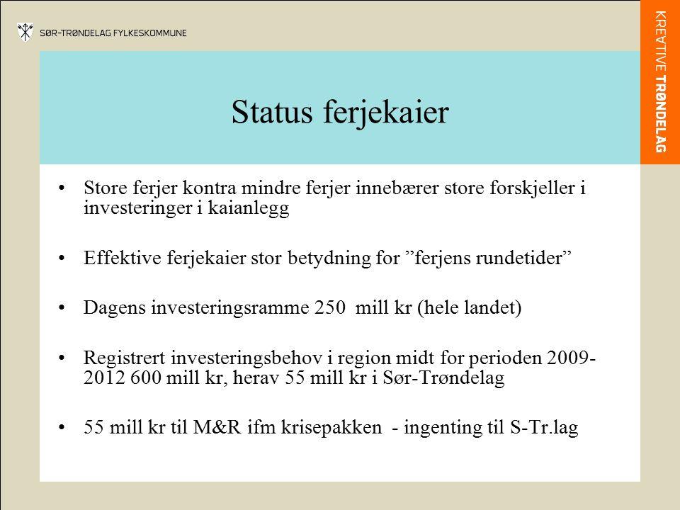 Status ferjekaier Store ferjer kontra mindre ferjer innebærer store forskjeller i investeringer i kaianlegg Effektive ferjekaier stor betydning for ferjens rundetider Dagens investeringsramme 250 mill kr (hele landet) Registrert investeringsbehov i region midt for perioden 2009- 2012 600 mill kr, herav 55 mill kr i Sør-Trøndelag 55 mill kr til M&R ifm krisepakken - ingenting til S-Tr.lag