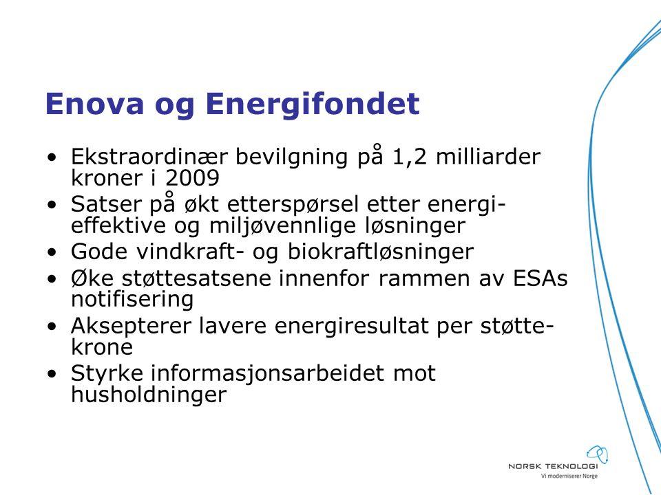 Enova og Energifondet Ekstraordinær bevilgning på 1,2 milliarder kroner i 2009 Satser på økt etterspørsel etter energi- effektive og miljøvennlige løsninger Gode vindkraft- og biokraftløsninger Øke støttesatsene innenfor rammen av ESAs notifisering Aksepterer lavere energiresultat per støtte- krone Styrke informasjonsarbeidet mot husholdninger