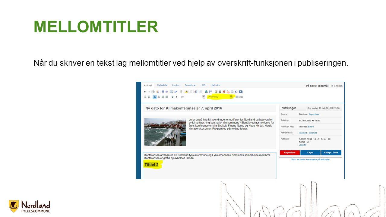 MELLOMTITLER Når du skriver en tekst lag mellomtitler ved hjelp av overskrift-funksjonen i publiseringen.