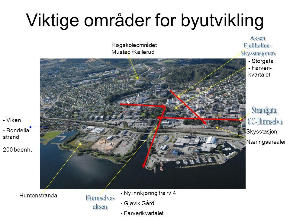 Viktige områder for byutvikling Skysstasjon Næringsarealer - Storgata - Farveri- kvartalet - Ny innkjøring fra rv 4 - Gjøvik Gård - Farverikvartalet Høgskoleområdet Mustad /Kallerud Huntonstranda - Viken - Bondelia strand 200 boenh.