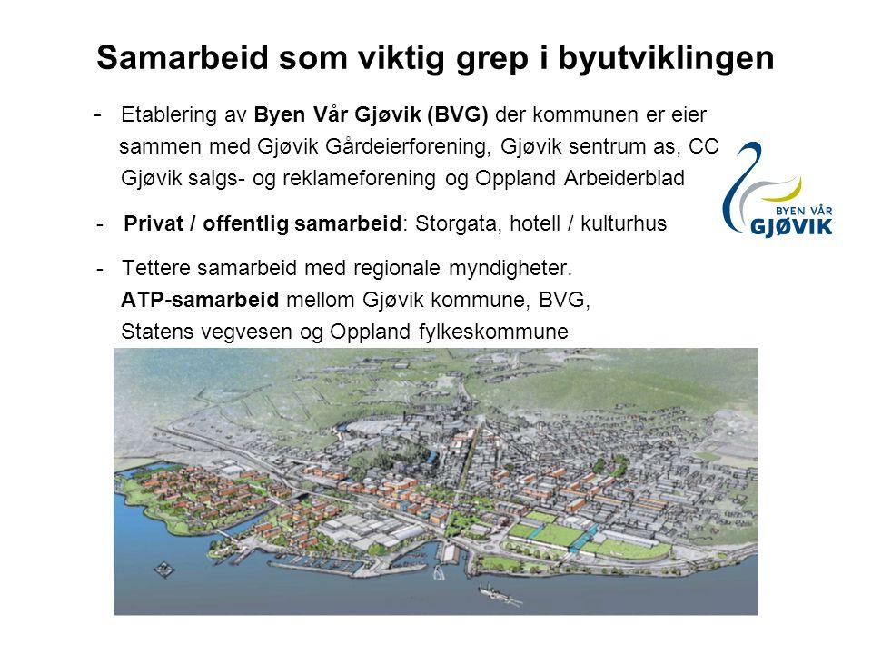 Samarbeid som viktig grep i byutviklingen - Etablering av Byen Vår Gjøvik (BVG) der kommunen er eier sammen med Gjøvik Gårdeierforening, Gjøvik sentru