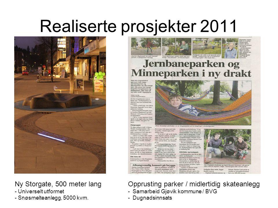 Realiserte prosjekter 2011 Ny Storgate, 500 meter lang - Universelt utformet - Snøsmelteanlegg, 5000 kvm. Opprusting parker / midlertidig skateanlegg
