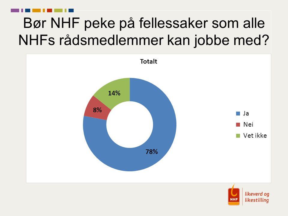 Bør NHF peke på fellessaker som alle NHFs rådsmedlemmer kan jobbe med?