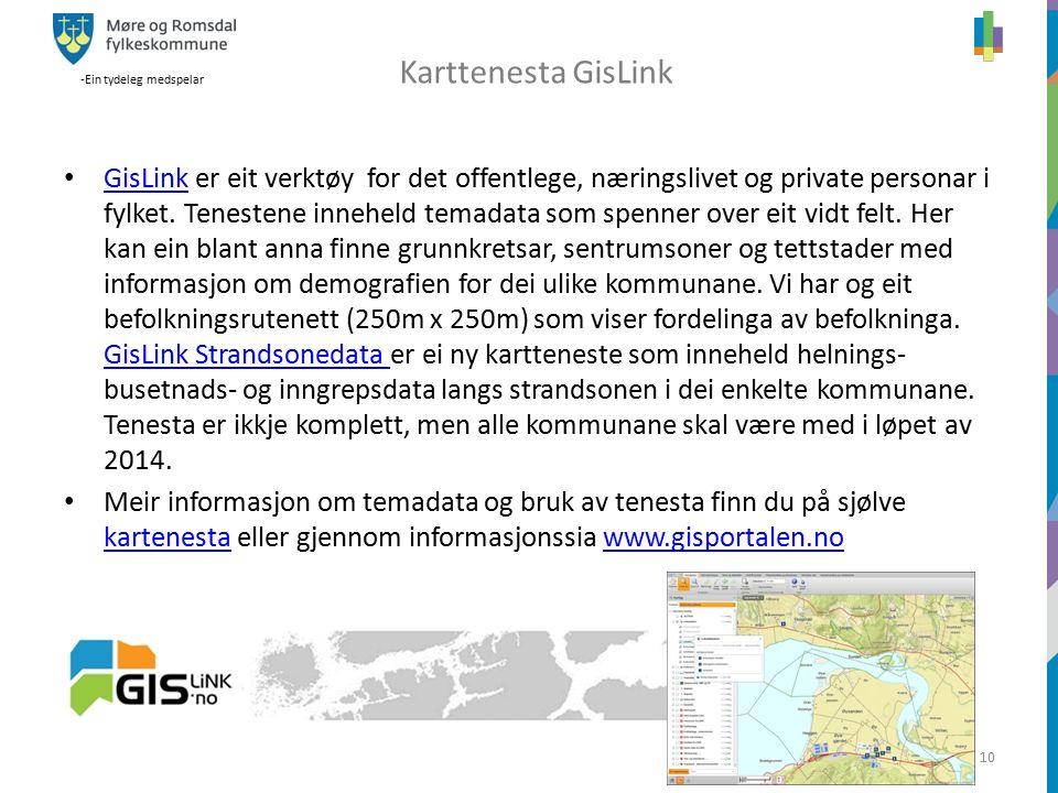 -Ein tydeleg medspelar 10 GisLink er eit verktøy for det offentlege, næringslivet og private personar i fylket.