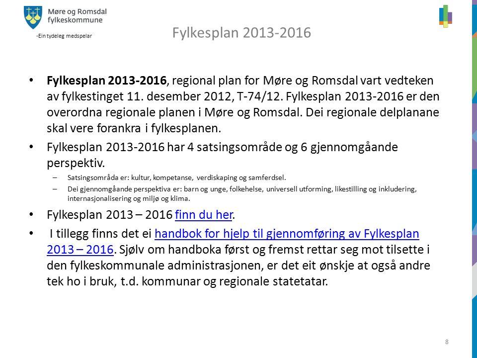 -Ein tydeleg medspelar 8 z Fylkesplan 2013-2016, regional plan for Møre og Romsdal vart vedteken av fylkestinget 11.