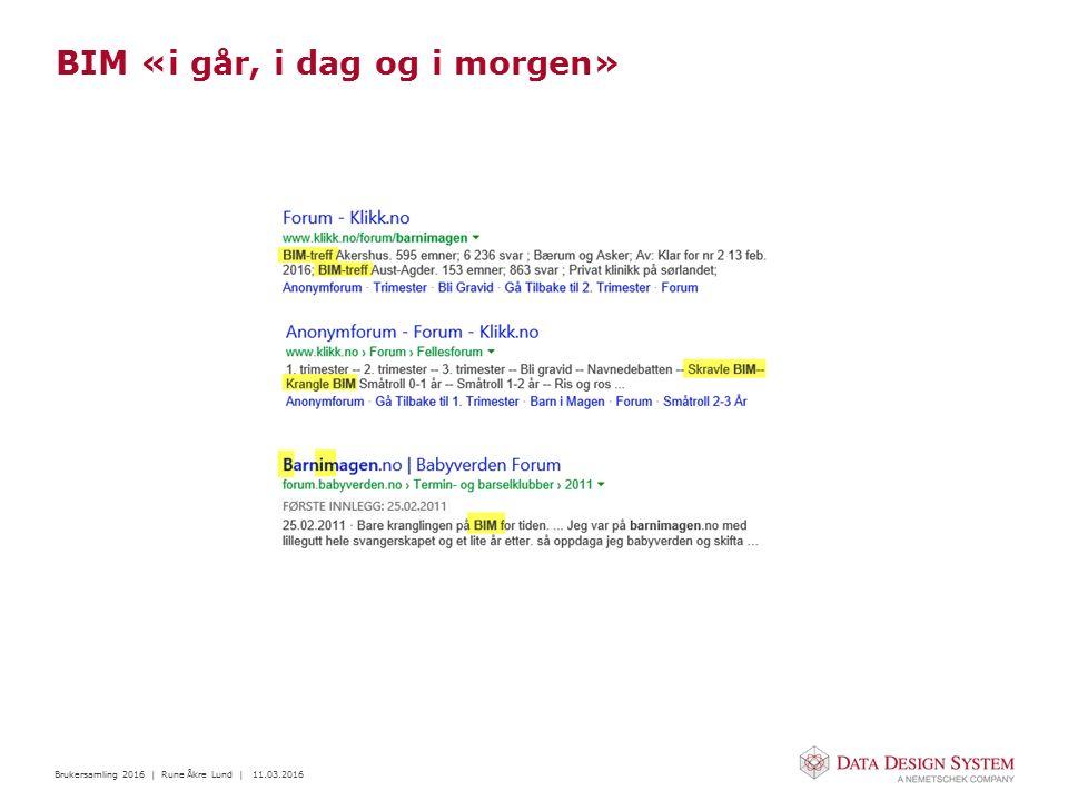 Brukersamling 2016 | Rune Åkre Lund | 11.03.2016 BIM «i går, i dag og i morgen» Har utviklet seg mye de siste 5-10 årene Metodene/prosessene er benyttet lengre i oljebransjen Benyttes i dag mer og mer i byggebransjen Anleggsbransjen henger seg også på Norge har lenge vært ledende innen BIM, men henger nå litt etter Framover vil man blant annet kunne bruke objekter på kryss og tvers av de forskjellige programvarene (IFC Product Libraries)
