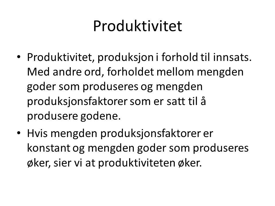 Produktivitet Produktivitet, produksjon i forhold til innsats.