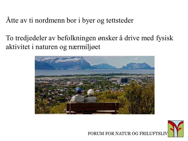 FORUM FOR NATUR OG FRILUFTSLIV Åtte av ti nordmenn bor i byer og tettsteder To tredjedeler av befolkningen ønsker å drive med fysisk aktivitet i natur