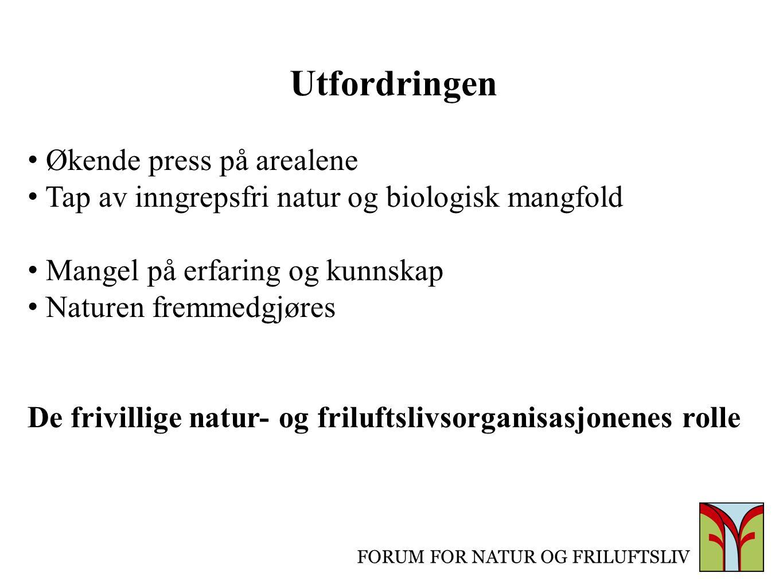 FORUM FOR NATUR OG FRILUFTSLIV Utfordringen Økende press på arealene Tap av inngrepsfri natur og biologisk mangfold Mangel på erfaring og kunnskap Nat