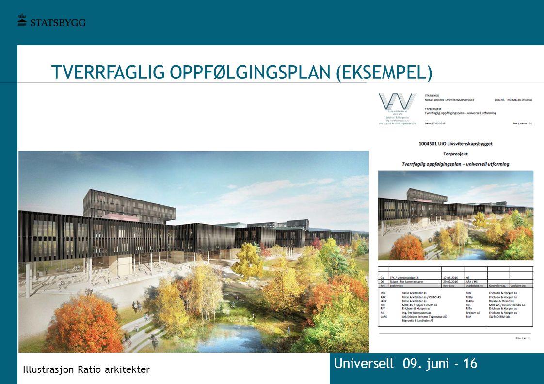 TVERRFAGLIG OPPFØLGINGSPLAN (EKSEMPEL) Universell 09. juni - 16 Illustrasjon Ratio arkitekter